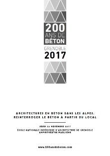 Programme du séminaire international Architecture en béton dans les Alpes